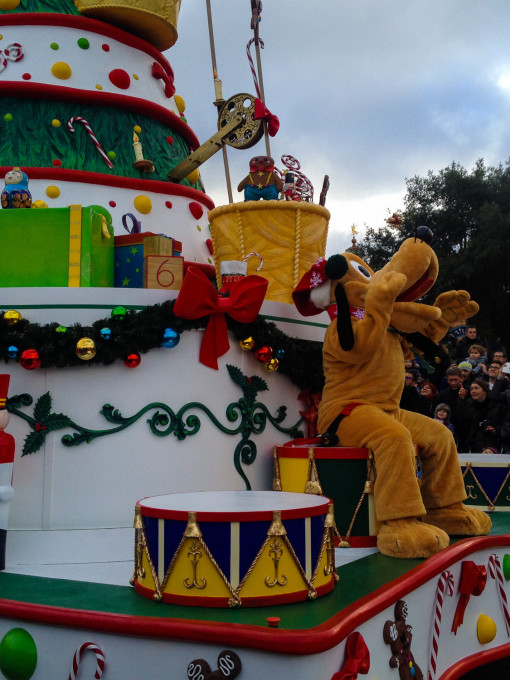 Pluto in Disney's Christmas Celebration Parade