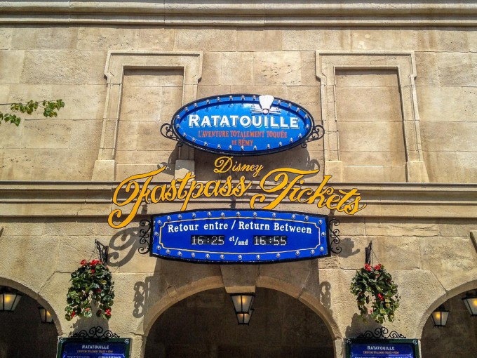 Ratatouille Ride Fast Pass Sign